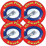 Sheet of 35 Clean Plate Award 37mm Circular Stickers