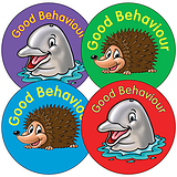 Sheet of 35 Mixed Good Behaviour 37mm Circular Stickers