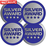 Silver Award Metallic 37mm Stickers x 35
