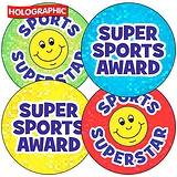 Super Sports Superstar Holographic 37mm Stickers x 35
