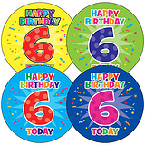 Happy Birthday 6 Today Stickers (35 Stickers - 37mm)
