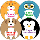 Animal Stickers - Manners (35 Stickers - 37mm)