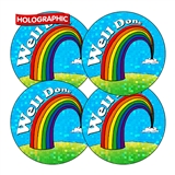 Holographic Well Done Stickers - Rainbow (35 Stickers - 37mm)