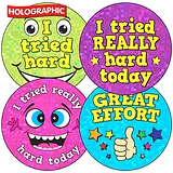Holographic I tried hard/Great Effort Stickers (35 Stickers - 37mm)