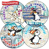Holographic Reading Stickers - Polar (35 Stickers - 37mm)
