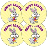'Happy Easter' Bunny Stickers (35 x 37mm)