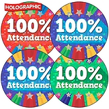 Holographic 100% Attendance Stickers (35 Stickers - 37mm)