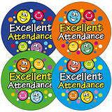 Excellent Attendance Stickers (45 Stickers - 32mm)
