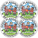 Sheet of 35 Good Playground Behaviour 37mm Circular Stickers