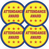 Sheet of 35 Attendance Award 37mm Circular Stickers
