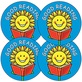 Sheet of 35 Good Reading Sunflower 37mm Circular Stickers