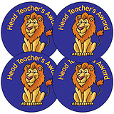 Head Teacher's Award Stickers - Lion (35 Stickers - 37mm)
