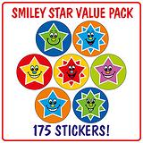 Smiley Star Stickers (175 Stickers - 20mm) Brainwaves