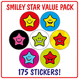 Smiley Star Stickers (175 Stickers - 20mm) Brainwaves