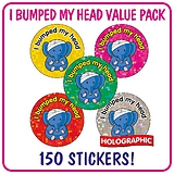 Holographic I Bumped My Head Stickers (150 Stickers - 25mm)