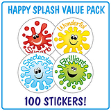 Happy Splash Stickers (100 Stickers - 32mm) Brainwaves