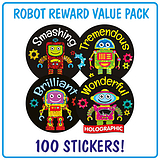 Robot Holographic Stickers (100 Stickers - 32mm) Brainwaves