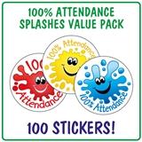 100% Attendance Splash Stickers (100 Stickers - 32mm) Brainwaves