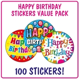 Happy Birthday Stickers (100 Stickers - 32mm) Brainwaves