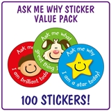 Ask Me Why Stickers (100 Stickers - 32mm) Brainwaves