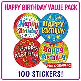 Holographic Happy Birthday Stickers (100 Stickers - 32mm)