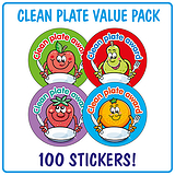 Clean Plate Award Stickers (100 Stickers - 32mm) Brainwaves