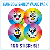 Rainbow Smiley Stickers (100 Stickers - 32mm) Brainwaves