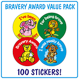 Bravery Award Stickers (100 Stickers - 32mm) Brainwaves