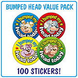 I Bumped My Head Today Stickers (100 Stickers - 32mm) Brainwaves