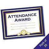 Blue 'Attendance Award' A5 Certificate x 20