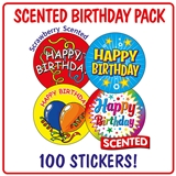 Scented Strawberry Stickers - Happy Birthday (100 Stickers - 32mm)
