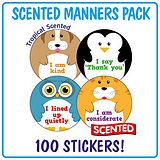 Scented Tropical Stickers - Manners (100 Stickers - 32mm)