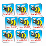 'Busy Worker' Bee 16mm Square Stickers x 140