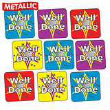 'Well Done' Mixed Colours Metallic 16mm Square Stickers x 140