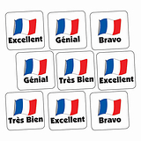 French Phrases Stickers (140 Stickers - 16mm)
