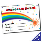 Pack of 20 Attendance Rainbow A5 Certificates