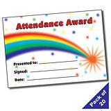 Rainbow 'Attendance Award' A5 Certificate x 20