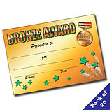 Pack of 20 Bronze Award A5 Certificates