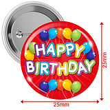 Happy Birthday Badges - Red (10 Badges - 25mm)