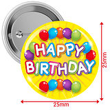 Happy Birthday Badges - Yellow (10 Badges - 25mm)