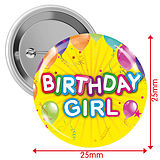 Pack of 10 Happy Birthday Girl Yellow 25mm Button Badges