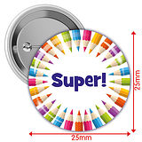 'Super' Multi Coloured 25mm Button Badges x 10