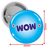 'WOW' Blue 25mm Button Badges x 10