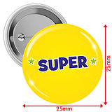 'SUPER'  Badges - Yellow (10 Badges - 25mm)