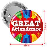 Great Attendance Badges - Red (10 Badges - 25mm)