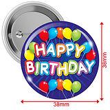Happy Birthday Badges - Blue (10 Badges - 38mm)