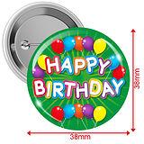 Happy Birthday Badges - Green (10 Badges - 38mm)