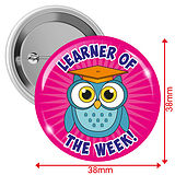 Learner of the Week Badges - Pink (10 Badges - 38mm)
