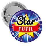 Star Pupil Button Badges (10 Badges - 38mm)