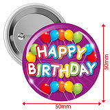 'Happy Birthday' Badges - Purple (10 Badges - 50mm)
